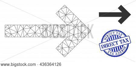 Web Carcass Direction Arrow Vector Icon, And Blue Round Direct Tax Rubber Print. Direct Tax Imprint