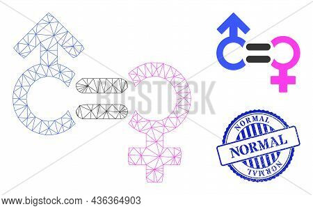 Web Carcass Genders Relation Symbol Vector Icon, And Blue Round Normal Dirty Rubber Print. Normal Im