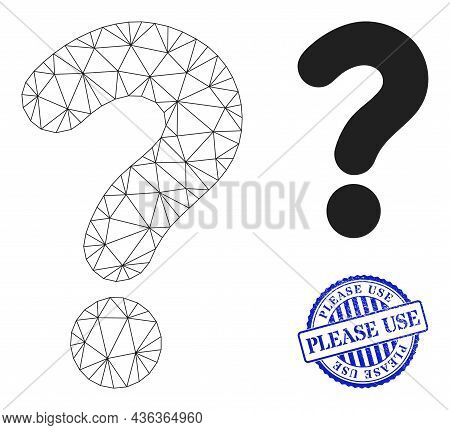 Web Carcass Question Mark Vector Icon, And Blue Round Please Use Corroded Stamp. Please Use Seal Use
