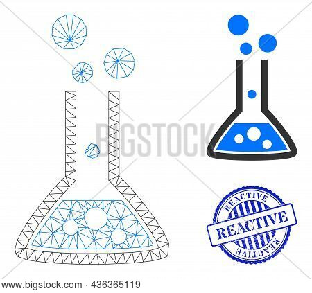 Web Carcass Reaction Flask Vector Icon, And Blue Round Reactive Corroded Stamp Print. Reactive Seal