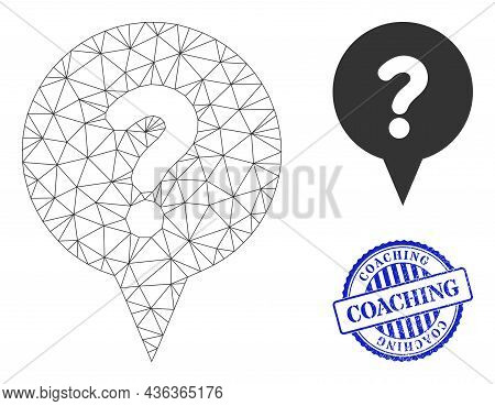 Web Carcass Question Banner Vector Icon, And Blue Round Coaching Unclean Watermark. Coaching Stamp U