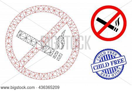 Web Net Smoking Forbidden Vector Icon, And Blue Round Child Free Rough Rubber Print. Child Free Impr