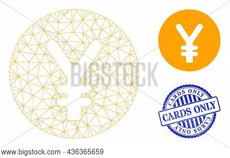 Web Net Yen Coin Vector Icon, And Blue Round Cards Only Textured Stamp. Cards Only Stamp Seal Uses R