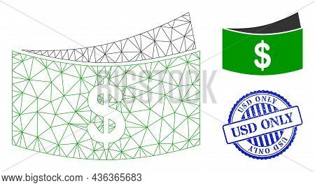 Web Mesh Dollar Bills Vector Icon, And Blue Round Usd Only Rough Rubber Print. Usd Only Imprint Uses