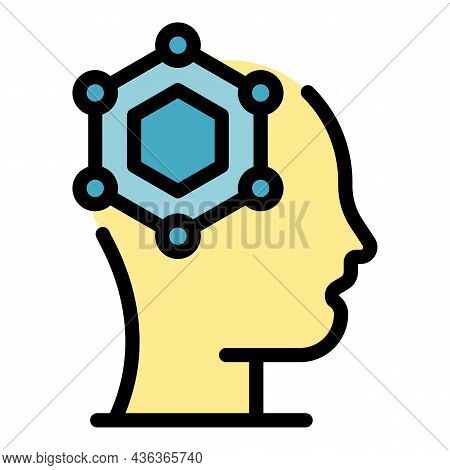 Scientist Mind Icon. Outline Scientist Mind Vector Icon Color Flat Isolated