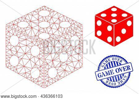Web Net Dice Cube Vector Icon, And Blue Round Game Over Unclean Stamp Seal. Game Over Stamp Seal Use