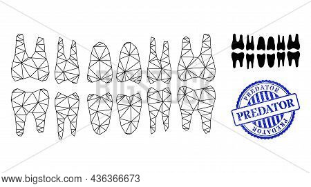 Web Carcass Teeth Jaw Vector Icon, And Blue Round Predator Grunge Stamp Seal. Predator Seal Uses Rou