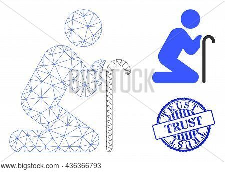 Web Mesh Grandfather Pray Vector Icon, And Blue Round Trust Rubber Watermark. Trust Watermark Uses R
