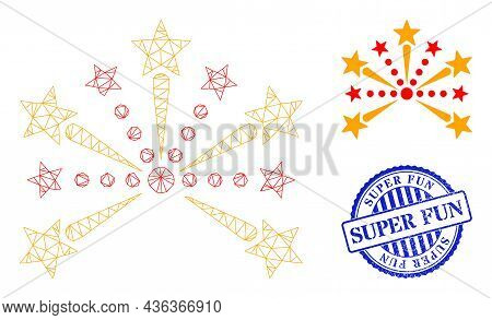 Web Carcass Pyrotechnic Salute Vector Icon, And Blue Round Super Fun Dirty Watermark. Super Fun Impr