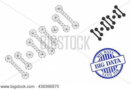 Web Mesh Genome Code Vector Icon, And Blue Round Big Data Scratched Watermark. Big Data Seal Uses Ro