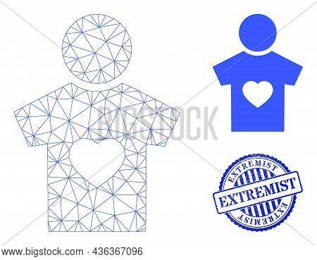 Web Mesh Boyfriend Vector Icon, And Blue Round Extremist Rough Rubber Print. Extremist Stamp Seal Us