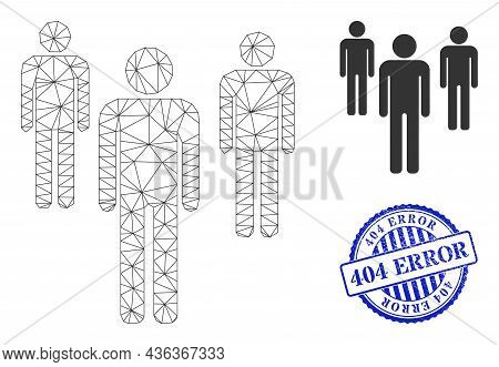 Web Mesh Men Figures Vector Icon, And Blue Round 404 Error Rough Stamp Seal. 404 Error Stamp Seal Us