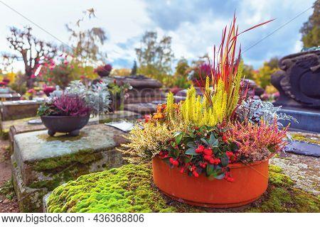 Flowers In Cemetery . Flower Pot On The Gravestone
