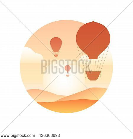 Illustration Of Vintage Hot Air Balloon With In The Sky, Sunrise And Hills. Silhouette Of Aerostat.
