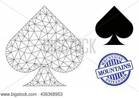 Web Carcass Playing Card Spade Suit Vector Icon, And Blue Round Mountains Corroded Seal. Mountains S