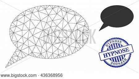 Web Network Forum Message Vector Icon, And Blue Round Hypnose Textured Stamp Seal. Hypnose Stamp Sea