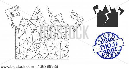 Web Net Destruction Vector Icon, And Blue Round Tired Dirty Stamp Print. Tired Stamp Uses Round Form