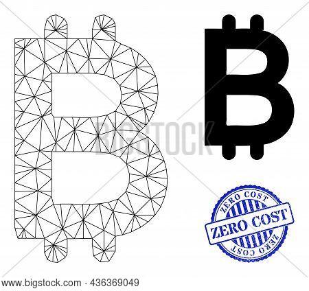 Web Mesh Bitcoin Vector Icon, And Blue Round Zero Cost Unclean Stamp Print. Zero Cost Seal Uses Roun