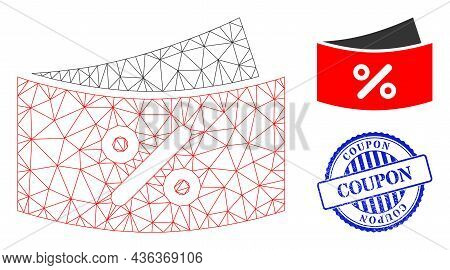 Web Net Discount Coupones Vector Icon, And Blue Round Coupon Corroded Stamp Seal. Coupon Seal Uses R