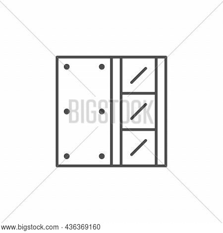 Drywall Installation Line Outline Icon Isolated On White