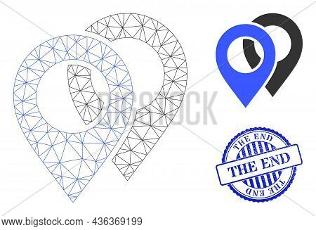 Web Mesh Map Markers Vector Icon, And Blue Round The End Rubber Badge. The End Stamp Seal Uses Round