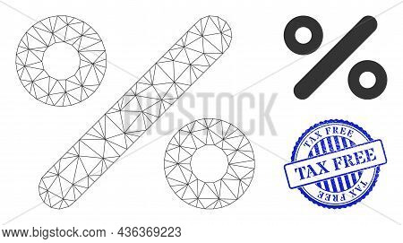 Web Mesh Percent Vector Icon, And Blue Round Tax Free Unclean Watermark. Tax Free Watermark Uses Rou