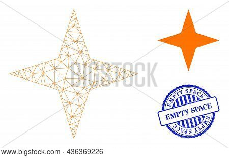 Web Carcass Space Star Vector Icon, And Blue Round Empty Space Rubber Print. Empty Space Stamp Seal