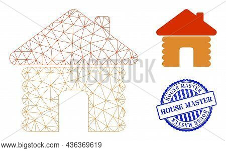 Web Mesh Wooden House Vector Icon, And Blue Round House Master Grunge Stamp Imitation. House Master