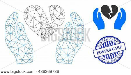 Web Mesh Broken Heart Care Palms Vector Icon, And Blue Round Foster Care Textured Stamp Seal. Foster
