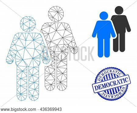 Web Network Gay Persons Couple Vector Icon, And Blue Round Democratic Grunge Stamp Seal. Democratic