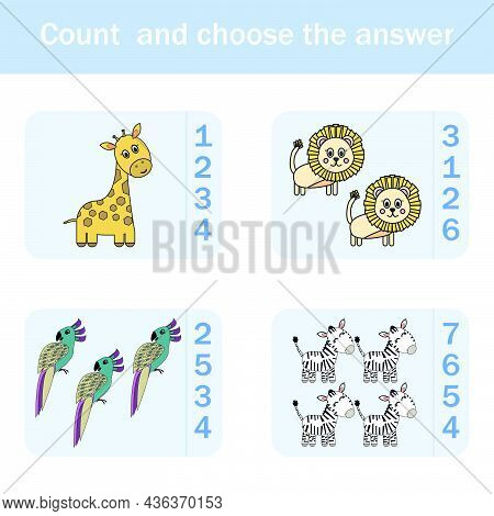 How Many Counting Game With Funny Forest Animal Giraffe, Parrots, Zebras, Lions. Preschool Worksheet