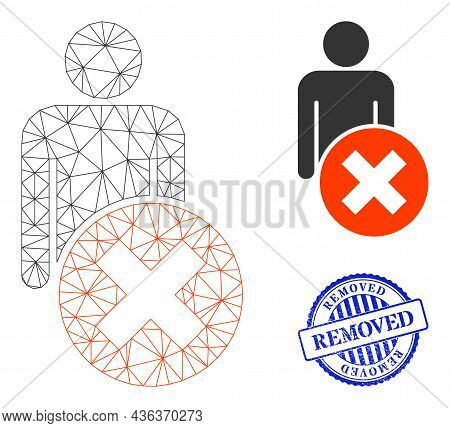 Web Carcass Delete Man Vector Icon, And Blue Round Removed Textured Stamp. Removed Stamp Uses Round