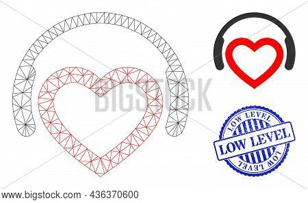 Web Network Romantic Dj Headphones Vector Icon, And Blue Round Low Level Rubber Seal. Low Level Seal
