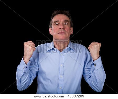 Frustrated Business Man Shaking Fists In Anger