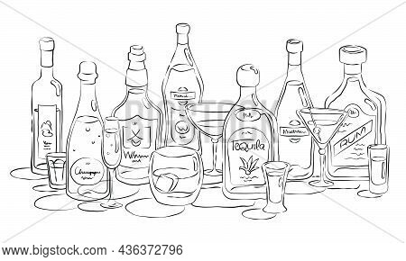 Group Of Bottles And Glasses Vodka, Champagne, Whiskey, Vermouth, Tequila, Martini, Rum In Hand Draw