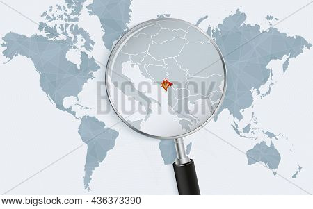 World Map With A Magnifying Glass Pointing At Montenegro. Map Of Montenegro With The Flag In The Loo