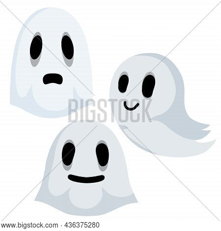 Ghost. Funny Flying Spirit.the Halloween Element. White Cute Character. Flat Cartoon Illustration. I