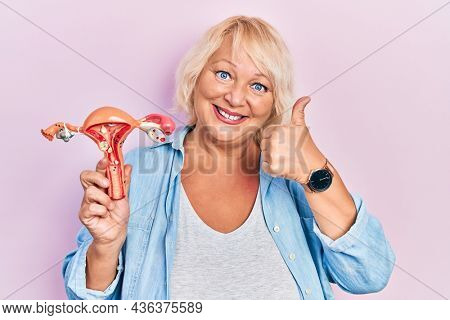 Middle age blonde woman holding anatomical model of female genital organ smiling happy and positive, thumb up doing excellent and approval sign