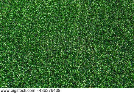 Green Grass Background. Lawn, Football Field, Green Grass Artificial Turf, Texture, Top View. Summer