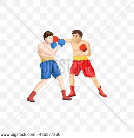 Boxing Sparring Isolated Illustration On White Background