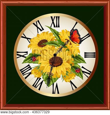 Frame With A Clock And Flowers.vector Illustration With Clock And Sunflower Decoration.