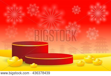 Podium Round Stage Podium And Paper Art Chinese New Year  Year Of The Tiger Zodiac Red And Golden Th