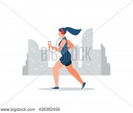 Young Athletic Woman Running And Listening To Music On City Background. Vector Illustration Cartoon