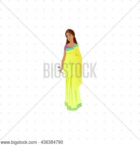 Hindu Woman In National Cloth Isolated Character Illustration On White Background