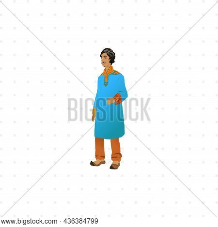 Hindu Man In National Cloth Isolated Character Illustration On White Background