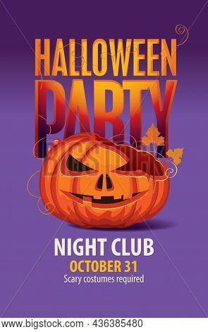 Vector Banner For Halloween Party With A Broken Laughing Pumpkin Head And Inscription On A Purple Ba