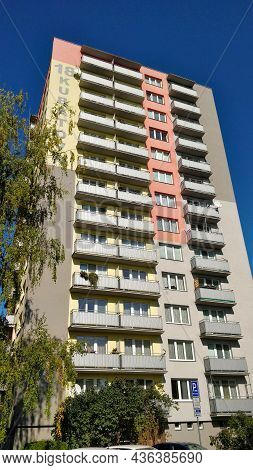Ceske Budejovice, Czech Republic - October 10, 2021: High-rise Old Reconstructed Block Of Flats With