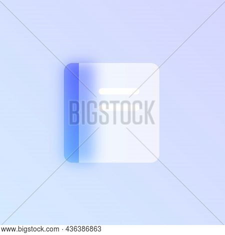 Notepad Glass Morphism Trendy Style Icon. Notepad Color Vector Icon With Blur, Transparent Glass And