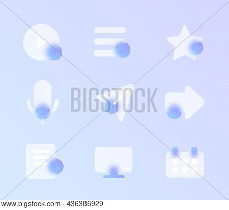 Ui Glass Morphism Trendy Style Icon Set. Ui Web Transparent Glass Color Vector Icons With Blur And P