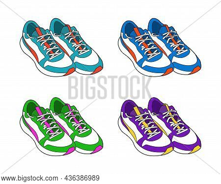Realistic Sneakers Color Vector Illustration Isolated On White Background. Active Lifestyle Sports S